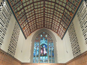 Present day chancel ceiling showing 1938 organ chambers.